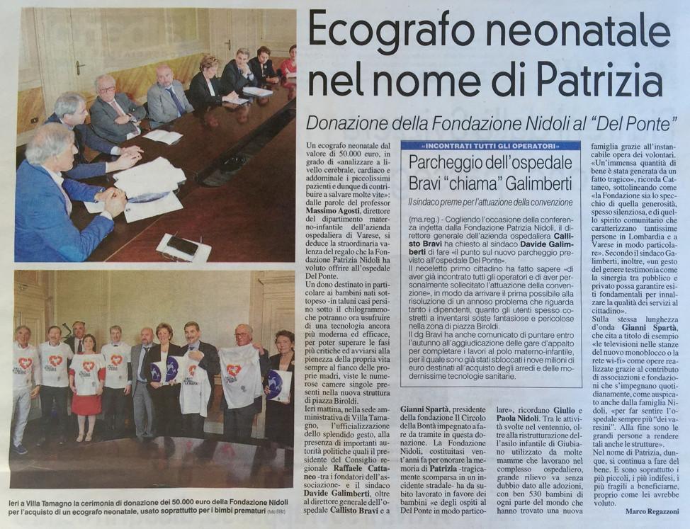 Donazione di 50.000€ dalla Fondazione Nidoli per la Neonatologia del Del Ponte